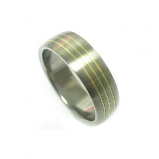 ClassicTitanium Ring mit14 Karat Gold Inlay
