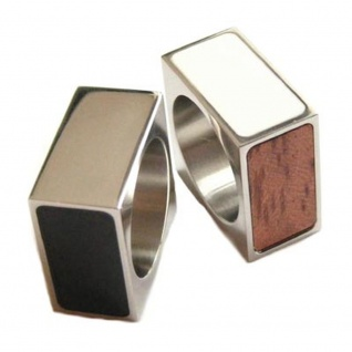 "QUATRO Ring "" Black White Wood Steel"", 4 Farben"