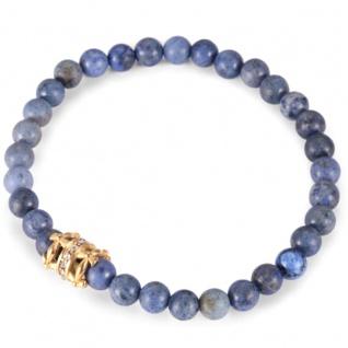 """,, Urban Rocks"""" Stretch-Bead-Armband mit echten Steinkugeln und bourbonischen Lilien Design center piece"""