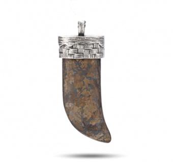 """"""" WOVEN"""" Bronzite Anhänger, 925 Sterling Silber im verwobenen Rattan Design"""