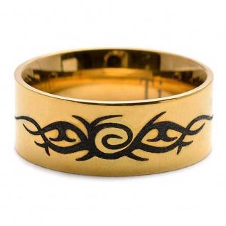 """ Tribal Tattoo"" Ring aus Titan mit Laser Design"