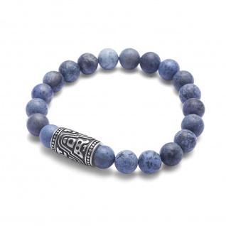 """,, Urban Rocks"""" Stretch-Bead-Armband mit echten Steinkugeln und rockigem Design center piece"""