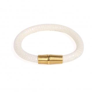 """ Twilight"" Bamboo Design Armband mit echtem Leder"