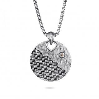 """"""" WOVEN"""" Anhänger mit braunem Diamant, 925 Sterling Silber im verwobenen Rattan Design"""