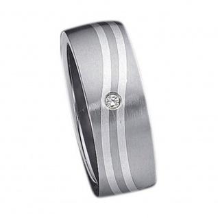 """"""" WAVES"""" Classic Titanium Ring mit 925 Silber Inlay und 1 Zirkonia"""