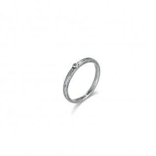 WOVEN Steck Ring mit braunem Diamant, 925 Sterling Silber im verwobenen Rattan Design
