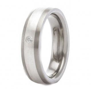 Classic Titanium Ring mit 925 Silber Inlay und 1 Zirkonia