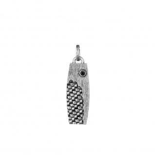 """"""" WOVEN"""" Anhänger mit scharzem Diamant, 925 Sterling Silber im verwobenen Rattan Design"""