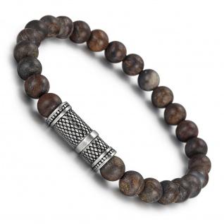 """,, Urban Rocks"""" Stretch-Bead-Armband mit echten Steinkugeln und REPTILE Design center piece"""