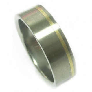 ClassicTitanium Ring mit 14 Karat Gold Inlay