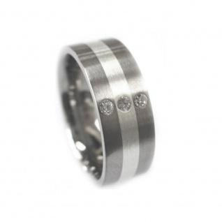 Classic Titanium Ring mit 925 Silber Inlay und 3 Zirkonia