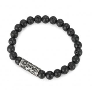 """,, Urban Rocks"""" Stretch-Bead-Armband mit echten Steinkugeln und Design center piece"""