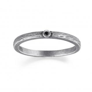 WOVEN Steck Ring mit schwarzem Diamant, 925 Sterling Silber im verwobenen Rattan Design