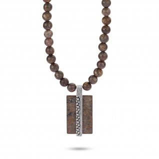 """"""" WOVEN"""" Kette, Bronzite Stein, 925 Sterling Silber im verwobenen Rattan Design - Vorschau"""