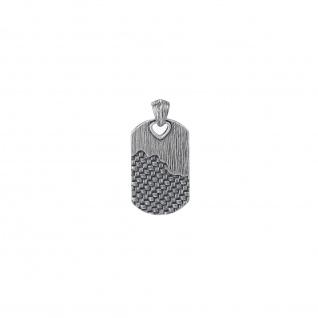 """ WOVEN"" Dog Tag Anhänger, 925 Sterling Silber im verwobenen Rattan Design"