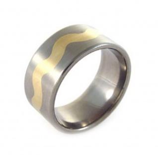 """"""" WAVES"""" Titanium Ring im Wellen Design mit 18 Karat Goldeinlage"""
