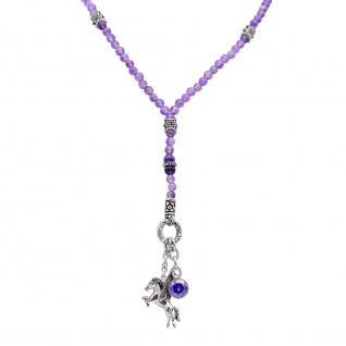 """"""" Urban Rocks"""" Pegasus Beads Kette aus Edelstahl mit echten Amethyst Kugeln und Ringverschluss für die Einklinkung von Anhängern. Mit 2 Anhängern """" Pegasus"""" und """" Crystal Rock"""""""