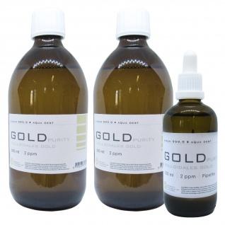 Kolloidales Gold 2x 500ml 2ppm + 100ml 2ppm Pipette Braunglas Originalitätsv.