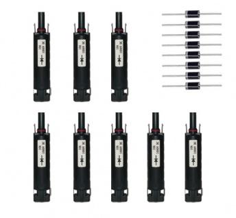8x Diodenstecker SC4 kompatibel 10A H4 Solarstecker Connector UV beständig IP68