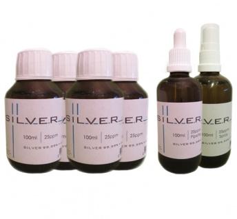 Kolloidales Silber 4x je 100ml 25ppm Fl. + Pipettenfl. + Spray je 100ml 25ppm