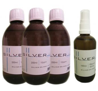 Kolloidales Silber 3x 250ml | 10ppm Flasche + 100ml|10ppm als Sprühflasche pure