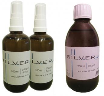Kolloidales Silber 2x 100ml | 25ppm Sprühflasche + 250ml | 50ppm Flasche pur
