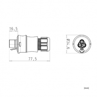 Stecker Male dreiadrig Wieland RST 20i3 signalbraun DMX Steckverbindung 120V 20A - Vorschau 3