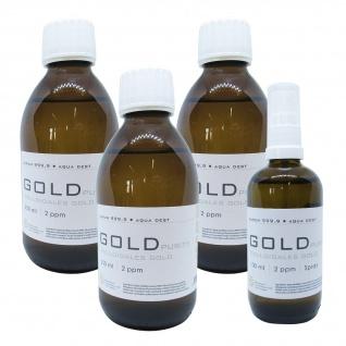 Kolloidales Gold 3x 250ml 2ppm Flasche + 100ml 2ppm Sprühflasche Spray Aurum pur