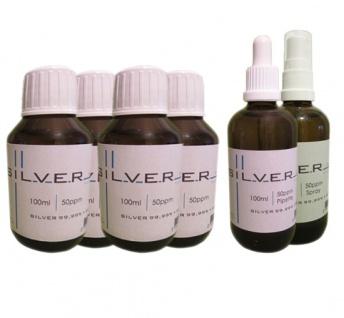 Kolloidales Silber 4x je 100ml 50ppm Fl. + Pipettenfl. + Spray je 100ml 50ppm