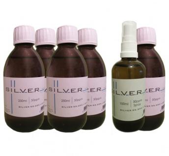 Kolloidales Silber 5x 250ml | 50ppm Flasche + 100ml | 50ppm Sprühflasche pur