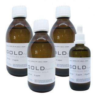 Kolloidales Gold 3x 250ml 2ppm + 100ml 2ppm Pipette Braunglas Originalitätsv.