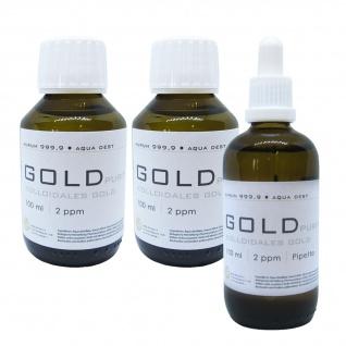 Kolloidales Gold 2x 100ml 2ppm + 100ml 2ppm Pipette Braunglas Originalitätsv.