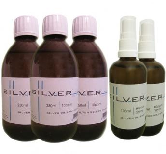 Kolloidales Silber 3x 250ml | 10ppm Flasche + 2x 100ml|10ppm als Sprühflasche