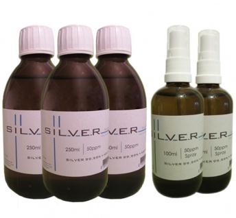 Kolloidales Silber 3x 250ml | 50ppm Flasche + 2x 100ml | 50ppm als Sprühflasche