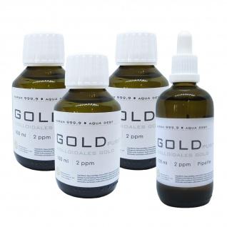 Kolloidales Gold 3x 100ml 2ppm + 100ml 2ppm Pipette Braunglas Originalitätsv.