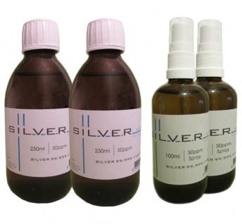 Kolloidales Silber 2x 250ml | 50ppm Flasche + 2x 100ml | 50ppm Sprühflasche pure