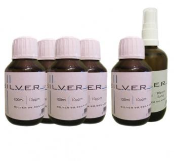 Kolloidales Silber 5x 100ml | 10ppm Flasche + 100ml | 10ppm Sprühflasche pur