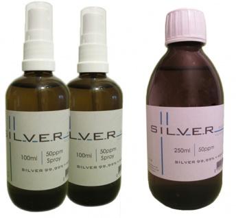 Kolloidales Silber 2x 100ml | 50ppm Sprühflasche + 250ml | 50ppm Flasche pur