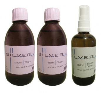 Kolloidales Silber 2x 250ml | 50ppm Flasche + 100ml | 50ppm Sprühflasche pur