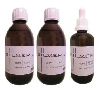 Kolloidales Silber 2x 250ml | 10ppm Flasche + 100ml | 25ppm Pipettenflasche pur