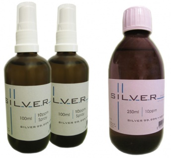 Kolloidales Silber 2x 100ml | 10ppm Sprühflasche + 250ml | 10ppm Flasche pur
