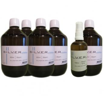 Kolloidales Silber 5x 500ml | 50ppm Flasche + 100ml | 50ppm Sprühflasche pur
