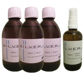 Kolloidales Silber 3x 250ml | 50ppm Flasche + 100ml | 50ppm als Sprühflasche pur