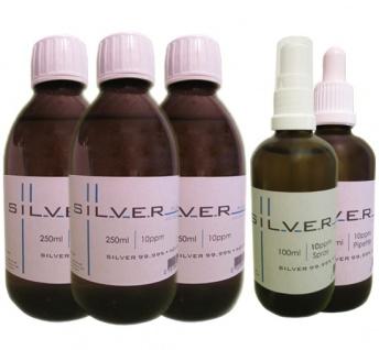 Kolloidales Silber 3x 250ml|10ppm Fl.+100ml|10ppm Pipettenfl.+100ml|10ppm Spray
