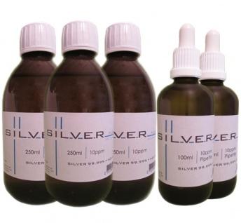 Kolloidales Silber 3x 250ml | 10ppm Flasche + 2x 100ml|10ppm als Pipettenflasche