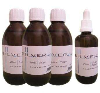 Kolloidales Silber 3x 250ml | 25ppm Flasche + 100ml | 25ppm als Pipettenflasche