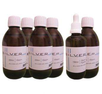 Kolloidales Silber 5x 250ml | 25ppm Flasche + 100ml | 25ppm Pipettenflasche pur
