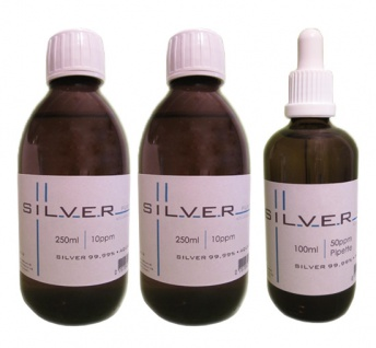 Kolloidales Silber 2x 250ml | 10ppm Flasche + 100ml | 50ppm Pipettenflasche pur