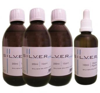 Kolloidales Silber 3x 250ml | 10ppm Flasche + 100ml|10ppm als Pipettenflasche