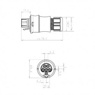 Buchse Female + Stecker Male fünfpolig Wieland RST 20i5 signalbraun DMX - Vorschau 5